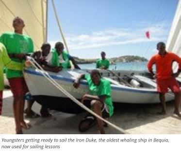 Youngsters getting ready to sail the Iron Duke, the oldest whaling ship in Bequia, now used for sailing lessons
