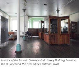 Interior of the historic Carnegie Old Library Building housing the St. Vincent & the Grenadines National Trust